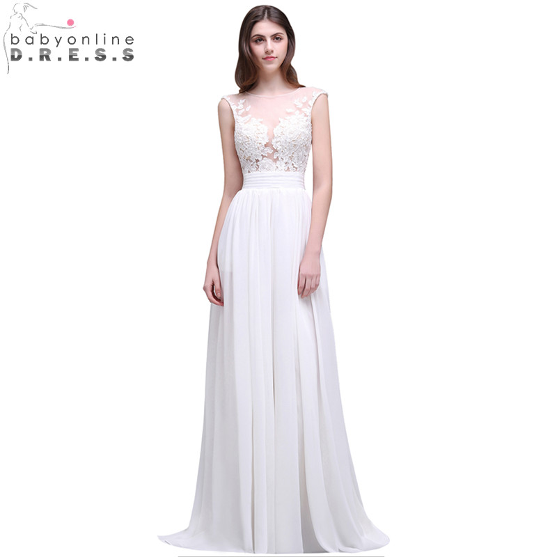 Robe de Mariage Sexy Sheer Back Lace Boho Wedding Dress 2017 Cheap Chiffon Beach Wedding Dresses Bridal Gown Vestido de Noiva