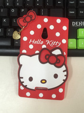 For Nokia XL Case 3D Cute Cartoon High Quality Polka Dot Pendant Hello Kitty Soft Silicone Cell Phone Covers Case Free Shpping