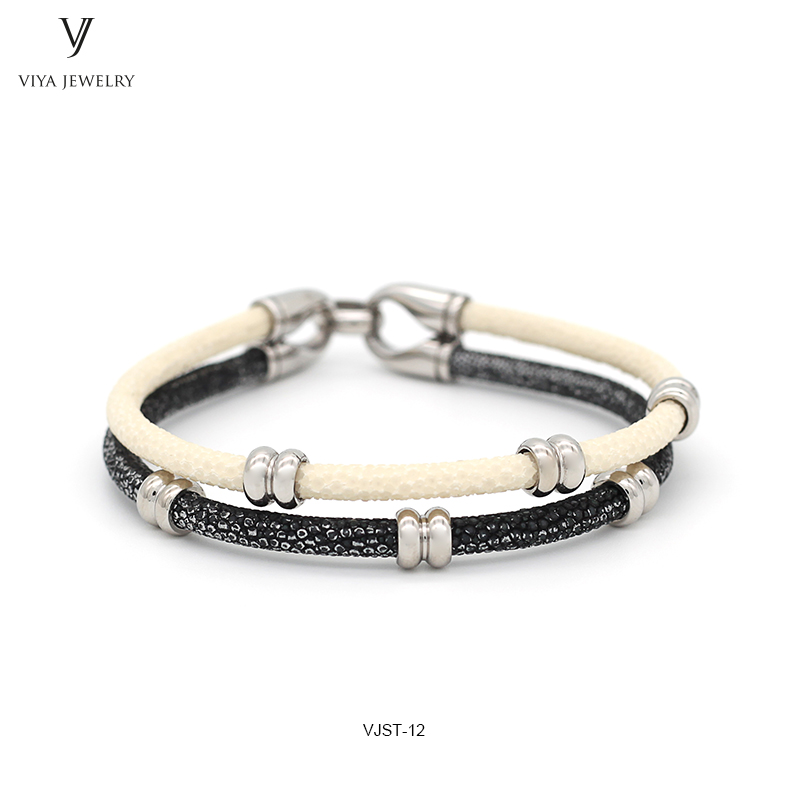 Unique Mixed Color Design Genuine Leather Strap 316L Stainless Steel Bracelet Fashion White&Silver Two Colors Mixed Stingray Leather Bracelet (3)