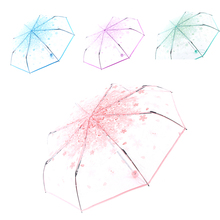 Hot 6 styles Novelty Middle Finger Design Black transparent sakura sky and cloud Umbrella Cool Fashion Impact Umbrella 3 Fold