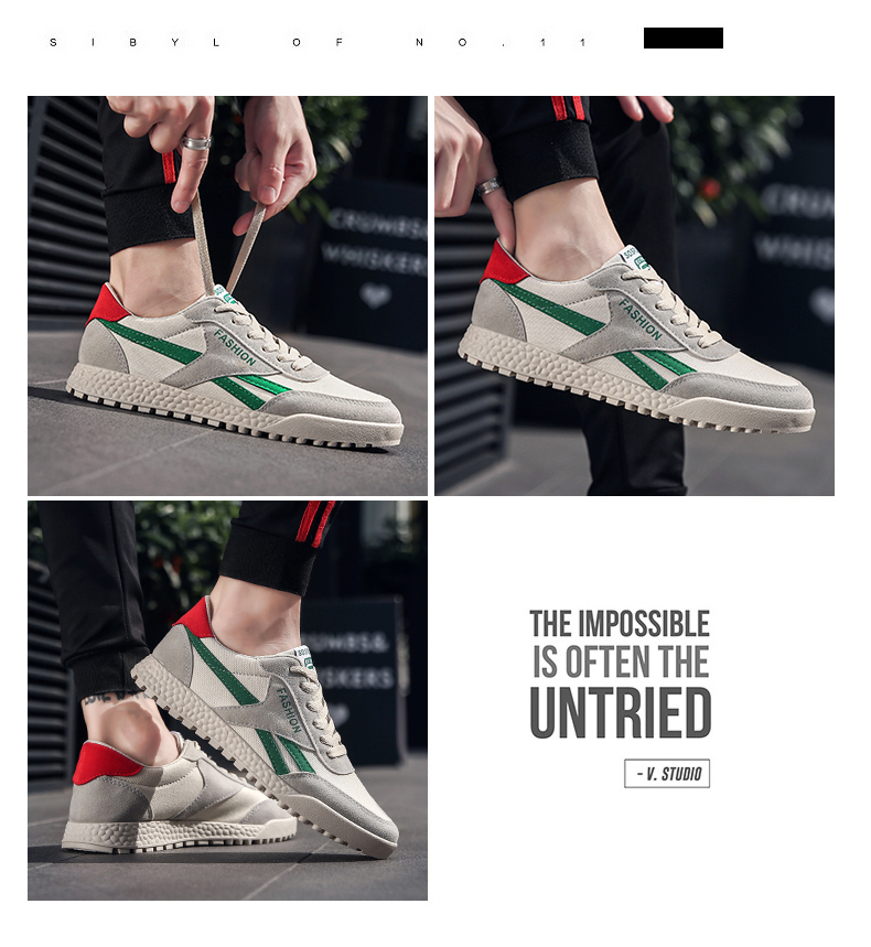 New Fashion Casual Flat Vulcanize Shoes For Men Breathable Lace-up Shoes Footwear Striped Shoes Flax And Cattle Cross Stitching 22 Online shopping Bangladesh