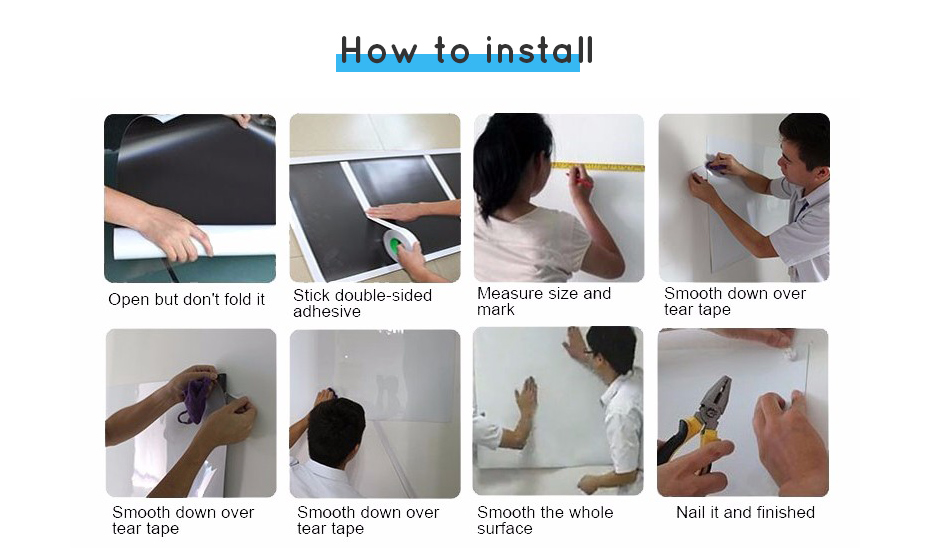 930_11 Flexible whiteboard Sticker Drawing Writing Board Kitchen Wall stickers Hold Magnets Home Wall Room Decor Blue Color