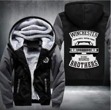 Hot! WHCHESTER family brother bussiness Car Printed hoodies Thicken Fleece sweatshirt Winter fashion sweatshirt warm Sportswear(China)