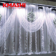Xmas 6Mx3M 600 LED Curtain Lights String Lights Warm White Fairy Wedding Curtain Icicle String Party Home(China)