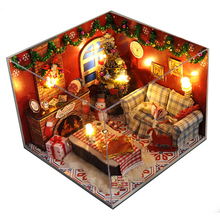 Miniature DIY Doll House Wooden Miniature Dust cover DollHouse Furniture Kit Handmade Christmas Toys For Children girl gift TW8