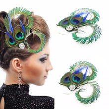 Vintage Special Green Peacock Feather Hair Jewelry Wedding Hair Clip Bridal Dance Party Dress Head Accessories Jewelry For Women