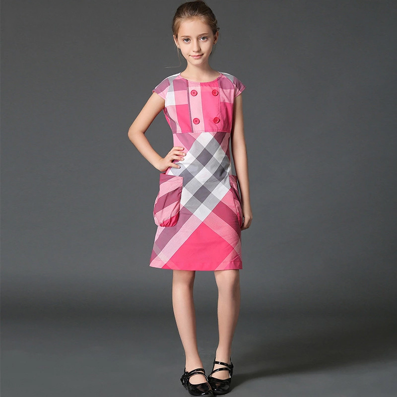 teenage girls dresses summer 12 years british style grid gowns children costumes for girl clothes 10Y fashion clothing for teens<br>