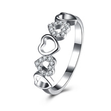Fine 925 Silver Heart Ring Wedding AAA Cubic Zircon 100% Pure S925 Sterling Solid Silver Rings for Women Jewelry USA Size 6-9(China)