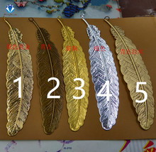 MINGXUAN 5pcs/lot Antique Bronze Cameo Bookmarks feather 110*24mm Cabochon Settings Jewelry Charms C467(China)