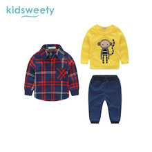 Kidsweety Kids Clothes Boys 3 Pieces Suits Autumn Cartoon Monkey Plaid Shirt Pants Baby Boy Children Kids Clothing Sets 1 year(China)
