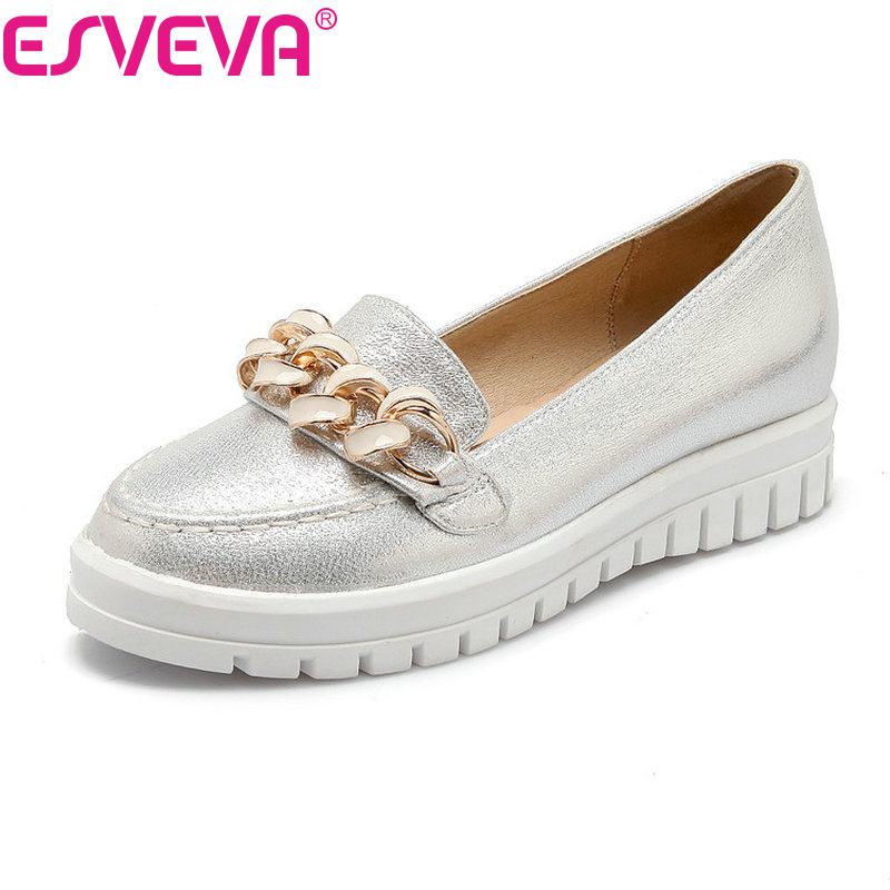 ESVEVA All Match 4 Color Chains Platform Round Toe Women Pumps Solid Slip On Autumn/Spring Miss Party Shoes Size 34-43 White<br><br>Aliexpress