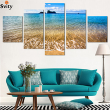Fashion 5 Panel Modern Printed Sea Wave Landscape Painting Picture Cuadros Canvas Art Seascape Painting For Living Room No Frame(China)