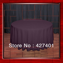 "Hot Sale  132"" R  Eggplant Round Table Cloth Polyester Plain Table Cover for Wedding Events &Party Decoration(Supplier)"