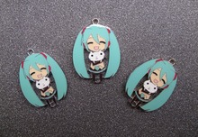 20pcs cartoon Japanese Anime Hatsune Miku Enamel Metal Charm Pendants DIY necklace Jewelry Making Mobile Phone Accessories Z01