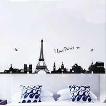100 cm * 40 cm PVC Eiffel Tower Wall I Love Paris Living room bedroom background decoration Wall Stickers TC954(China)