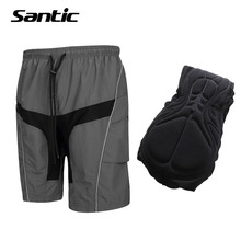 Santic Men Cycling Shorts Leisure Baggy Loose Downhill MTB Shorts COOLMAX 3D Padded Mountain Bike Shorts Bicycle Short Pants