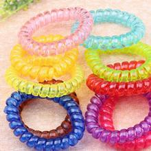 10 PCS/lot Women Girls Ladies Hair Bands Black Colorful Elastic Rubber Telephone Wire Style Hair Ties Plastic Rope Hairband(China)
