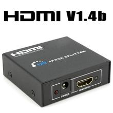 New 1 to 2 Ports HDMI SPlitter Switch + DC 5V 1A Adapter or USB Power Supply Cable for 1080P 3D HDTV HDCP Audio Video separator