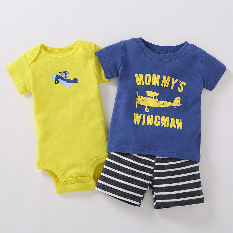 3pcs Baby Boys Sets Summer Blue T-shirt+ Yellow Short Sleeves Bodysuits+Black Striped Shorts Baby Boys Clothes Sets<br>