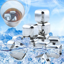 4pcs/5pcs/6pcs Stainless Steel Cooler Set whisky stone Wine Drinks Cooling Chilling Cube with 1 velvet bag