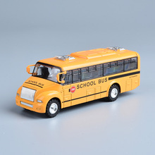 1:32 Scale Alloy Die cast Pull Back Model American School Bus Toy Vehicles with Light and Sound Car Best Gift for Children(China)