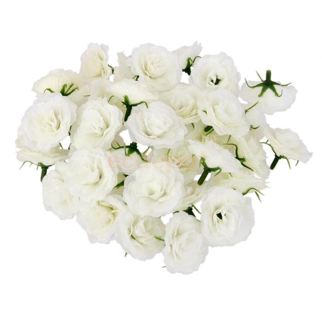50pcs Artificial Flowers Silk Carnation Heads Bulk Wedding Party