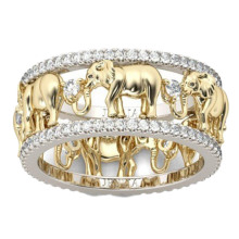 Pure Copper Antique Gold Color Lucky 3D Elephant Ring Romantic Zircon Ring For Man/Woman Jewelry Drop Shipping(China)