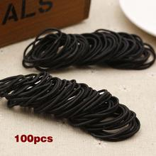 Best 100 Pcs Black Elastic Hair Bands Ponytail Holder Head Rope Ties Headwear Hair Styling Kids Girl Accessories Scrunchie