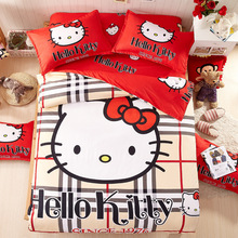 British flag Thickened Hello Kitty Bedding Set  Printed Sanding Duvet Cover Set Bed Linens Sheet Pillowcase Queen Full Twin Size