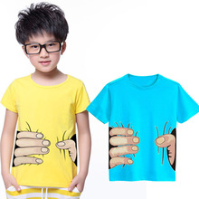 Summer Style Spoof Grab You Baby Girls Boys T Shirts Cotton 3D Print Big Hand T-Shirts Child Clothing Tops Infant Tee