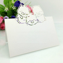 50PCS Table Cards The Three Little Pigs Theme Seat Place name Card Laser cut Paper wedding Supplies Party Invitation Decorations(China)