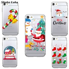 Shaka Laka Fashion Lovely Christmas Socks Snowman Snowy elk Unique Soft TPU Phone Cover Case for iPhone 7 7Plus 6S 6Plus 6 5SE(China)