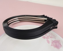 10PCS 5mm Black Grosgrain Ribbon Covered Plain Metal Headbands,lined Wire hairbands DIY hair accessories