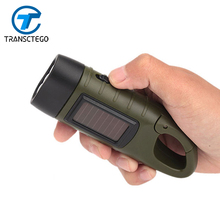 Hand Crank 3led flashlight solar Dynamo flashlight camping light Outdoor Mountaineering lamp rechargeable batteries(China)