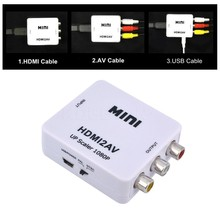 HOT HD 1080p 1920*1080 HDMI to AV/RCA/CVSB L/R Video Converter Male-Female Supporter for NTSC PAL Output High Quality White