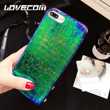 "LOVECOM Luxury Crocodile Grain Laser Phone Case For iPhone 6 6S 7 Plus 4.7""/5.5"" Soft Leather Back Cover Coque Fundas"