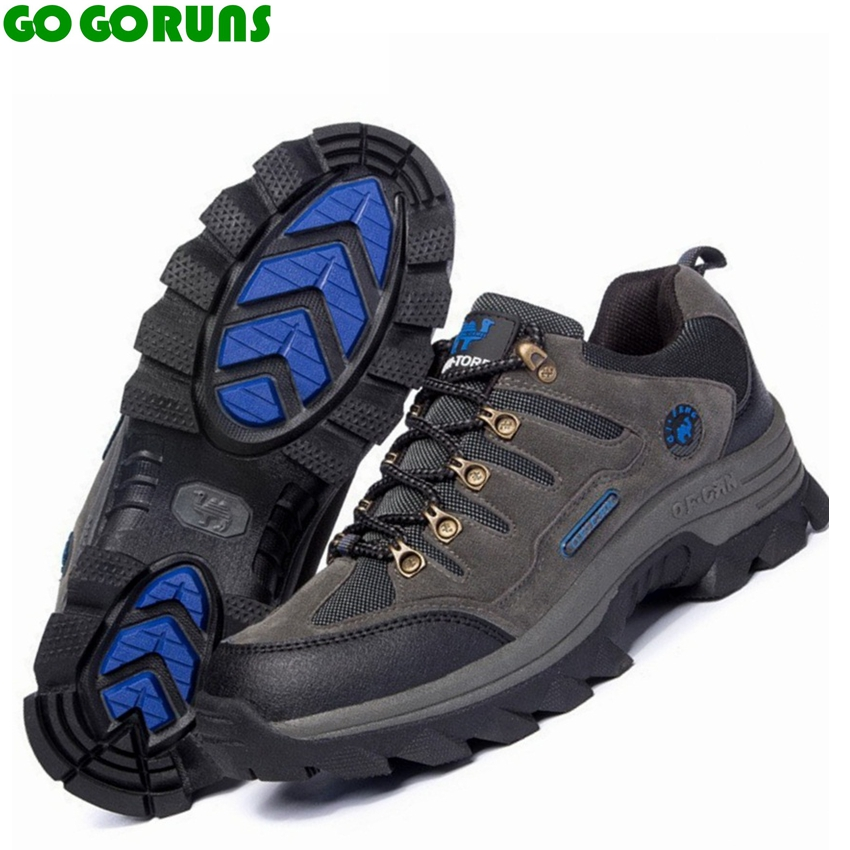 Outdoor hiking shoes men trekking breathable leather brand outventure travel hunting athletic sneakers shoes boots size 36-47<br>