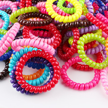 Candy Colored Telephone Line Hair Ring Elastic Telephone Line Hair Band Girls Headwear Headband Flower Hair Accessories For Girl(China)