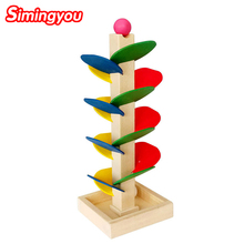 Simingyou Wooden Tree Puzzle Marble Ball Run Track Game Baby Kids Children Intelligence Educational Toy RB78 Drop Shipping