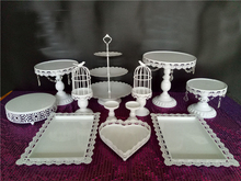 White Wedding Cake Stand Cupcake Display with beads drops Party Props 12pcs/set
