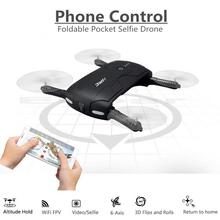 FPV Wifi Camera RC Quadcopter Foldable Pocket Selfie Drones Phone Control Flying Helicopter Mini Drone JJRC H37 Copter Drone(China)
