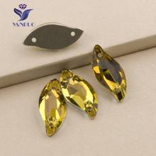 YANRUO #3254 All Sizes Lt.Topaz Bright Strass Rhinestone Sew On Crystal Glass Diamond Leaf Shape Flatback For Bags(China)