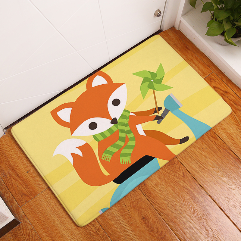 Flannel Floor Mats Fox And Owl Printed Bedroom Living Room Carpets