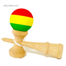 Striped Rubber Kendama Elastic Frosted Kendama Sword Ball Professional Wooden Toy Skillful Juggling Ball Game Toy For Children