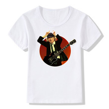 2017 Kids Print AC DC Band Rock White T-shirt Children Summer Girls Boys Short Sleeve O Neck T Shirt Casual Baby Tops, HKP408