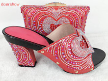 doershow very graceful african shoes and bag set for party italian style Casual shoes with crystal for lady!Hlu1-54(China)