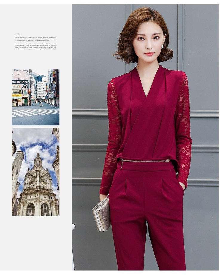 Women Leisure Set Autumn Dress New lady Slim Two Pieces Suits Blouse+Pants Fashion Long Sleeve V Collar Ladies Suits A112 YAGENZ 5