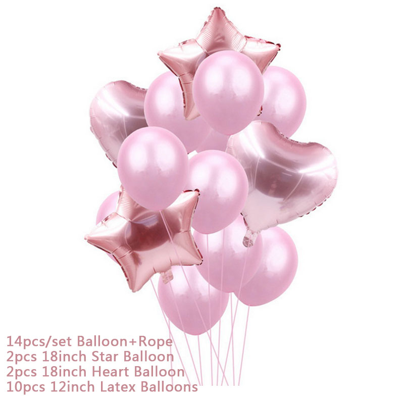 Hoomall 10/14PCs Confetti Air Balloons With Rope Heart Star Gold Champagne Latex Helium Balloon Wedding Decorations Party Supply 22
