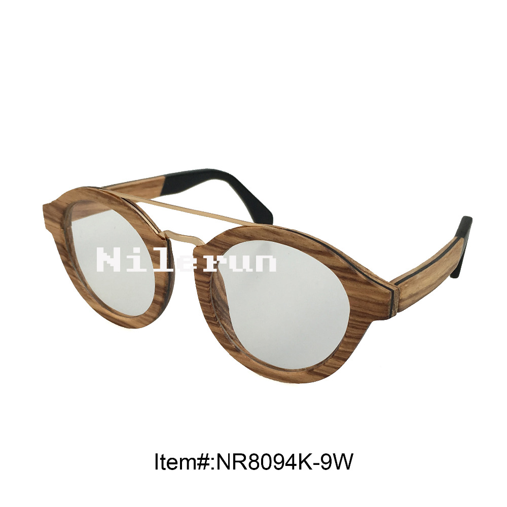 brand double metal nose bridge round zebra wood frame optical glasses with acetate temples and clear plain lenses<br><br>Aliexpress