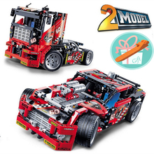 Wholesale Price!!! Race Truck Racing Car 608pcs 2 In 1 Transformable Model Building Block Sets Smart Toys For Children+With Gift